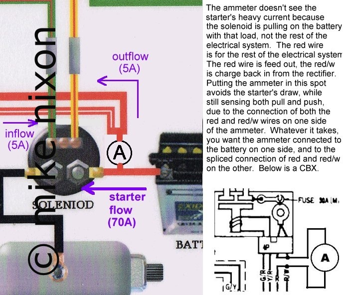ammeter ethic www.motorcycleproject.com ammeter wiring diagram alternator lights motorcycle ammeter wiring